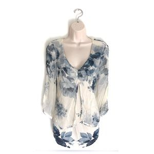 Lucky Brand Blue Floral Layover Open Shoulder